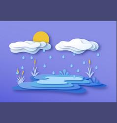 paper cut water lake environment with rain cloud vector image