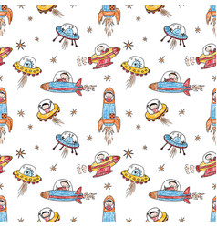 Pattern astronauts and aliens in space vector