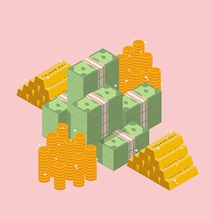Pile of cash with gold ingots and coin vector