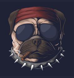 Pug dog head smoke vector