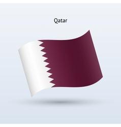 Qatar flag waving form vector