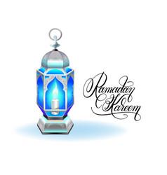 ramadan kareem greeting card with silver blue vector image