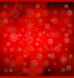 red christmas snowflakes background with lights vector image