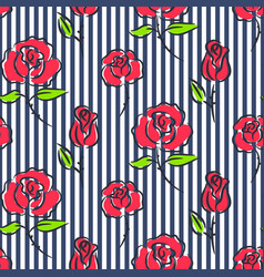 Roses on blue striped seamless pattern vector