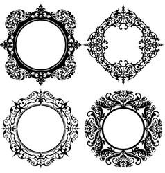 Round victorian flourish decorative frame vector