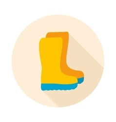 Rubber boots gumboots wellies flat icon vector