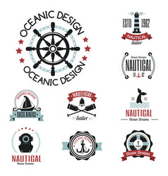 sea marine nautical logo icons sailing vector image