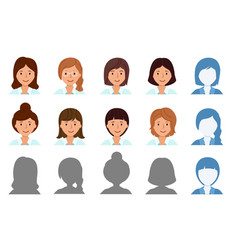 Set avatar profile isolated icons smiling vector