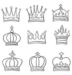 Set crown various doodle style vector