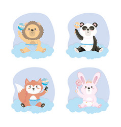 Set cute animal with rattles and diaper vector