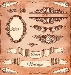 set of calligraphic design elements page vector image