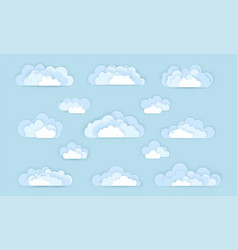 set of cloud icons in paper art style vector image