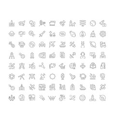 set simple icons space vector image