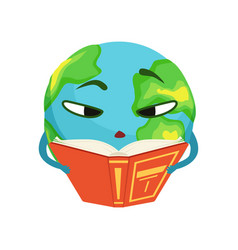 smart earth planet character reading a book cute vector image