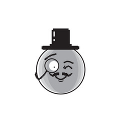 Smiling cartoon face wear aristocrat hat positive vector