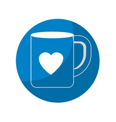 Sticker cup to drink with heart design vector