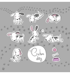 Sticker with cute cartoon dogs vector