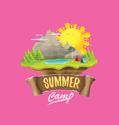 summer camp kids logo concept with vector image