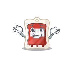 Super funny grinning blood bag mascot cartoon vector
