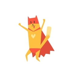 Super Hero Cat Cheering vector