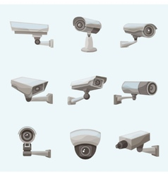 Surveillance Camera Realistic Icons vector
