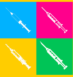 syringe sign four styles of icon on vector image
