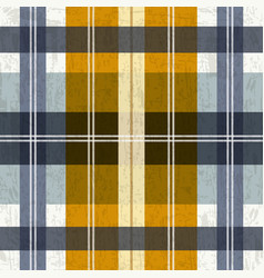 tartan plaid pattern in blue and yellow vector image