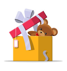teddy bear inside gift box vector image