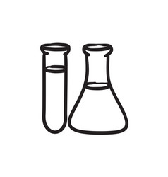 Test tubes sketch icon vector