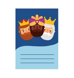 Three kings orient letter dear wise men vector
