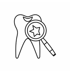 Tooth with magnifying glass icon outline style vector image
