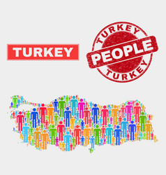 Turkey map population demographics and scratched vector