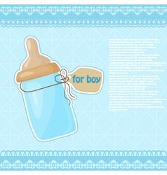 Vintage blue patterned bottle of milk for the boy vector image
