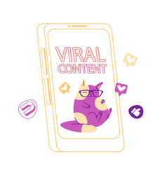 viral mass shared content cute funny cat vector image