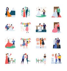 Wedding celebration party birthday pack vector