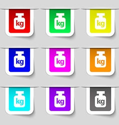 Weight icon sign Set of multicolored modern labels vector image