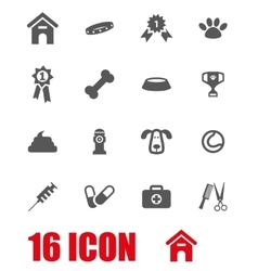 white dog icon set vector image