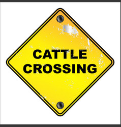 Yellow cattle crossing sign vector