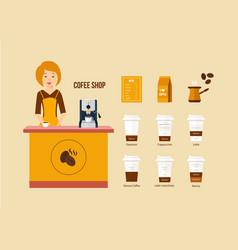 Coffee shop various kinds of menus equipment vector