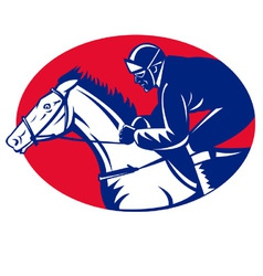 Horse and jockey racing side view vector