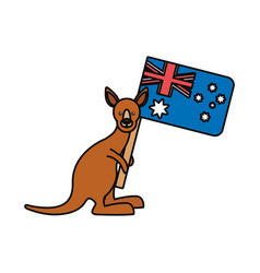 kangaroo with flag of australia vector image