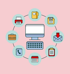 office computer device technology with application vector image vector image