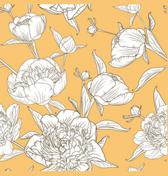 peony flowers seamless pattern yellow background vector image vector image