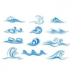 set of wave symbols vector image vector image