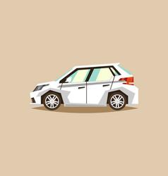 white car hatchback side view transport for vector image vector image