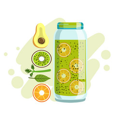 avocado orange and kiwi smoothie non-alcoholic vector image vector image