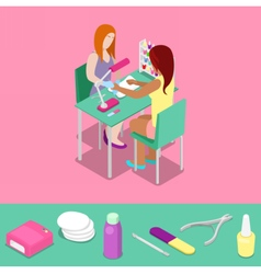 Beauty Salon Master Makes Girl Manicure Isometric vector image