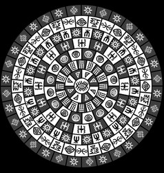 black and white round design with ethnic symbols vector image