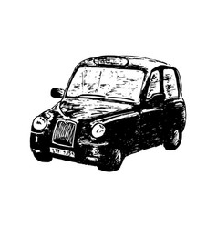 black taxi car isolated drawn sketch vector image vector image