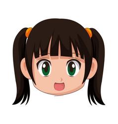 cute cartoon anime little girl chibi character vector image vector image